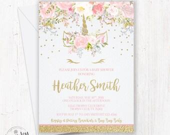 Unicorn Baby Shower Invitations, Girl Baby Shower Invite, Floral Unicorn Baby Shower, Pink and Gold, Unicorn Face, Gold Glitter Confetti