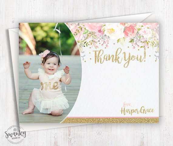 Floral Thank You Cards With Picture Girls Birthday Thank You Etsy