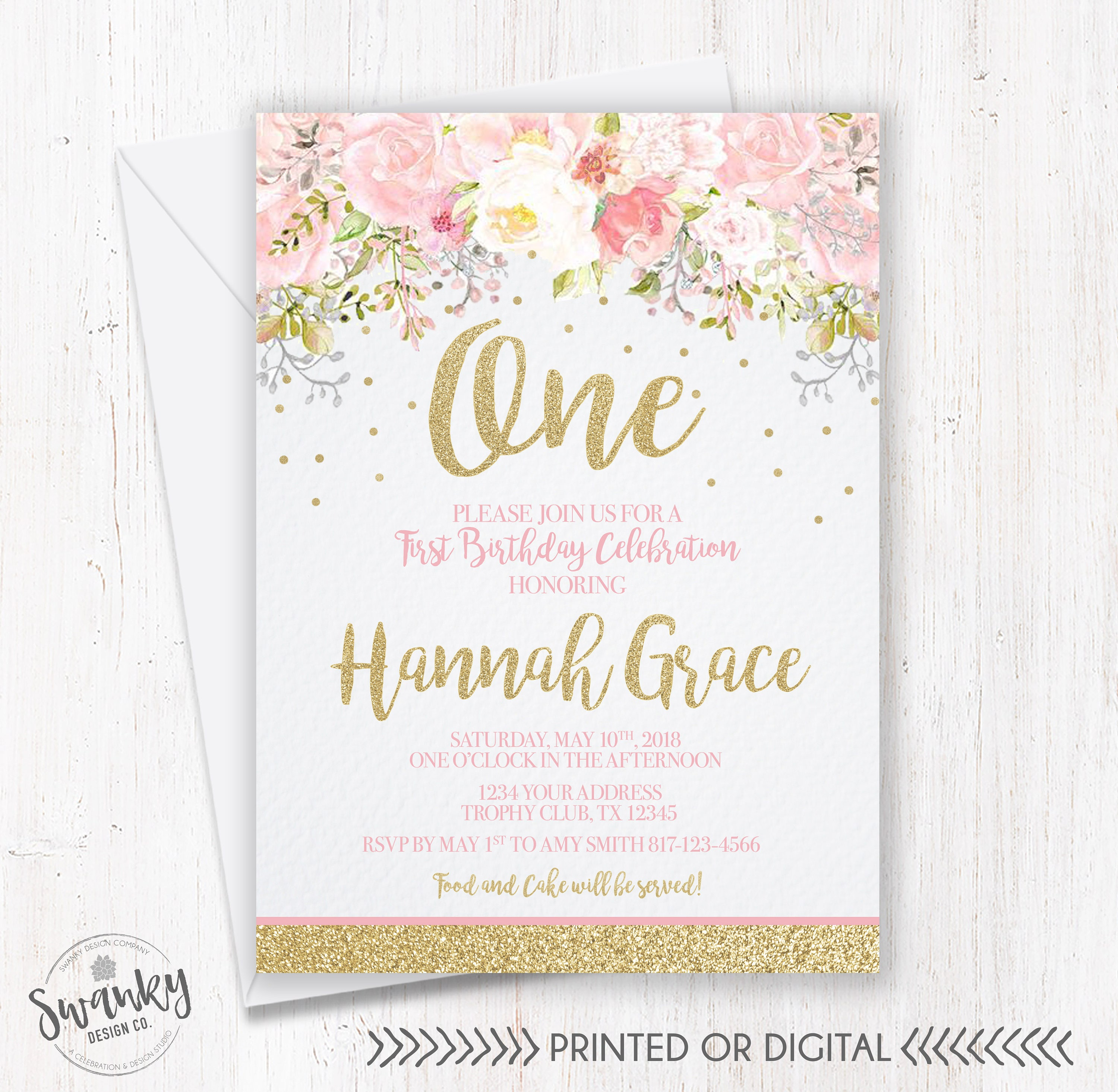 Blush Pink and Gold First Birthday Invitation Floral First | Etsy