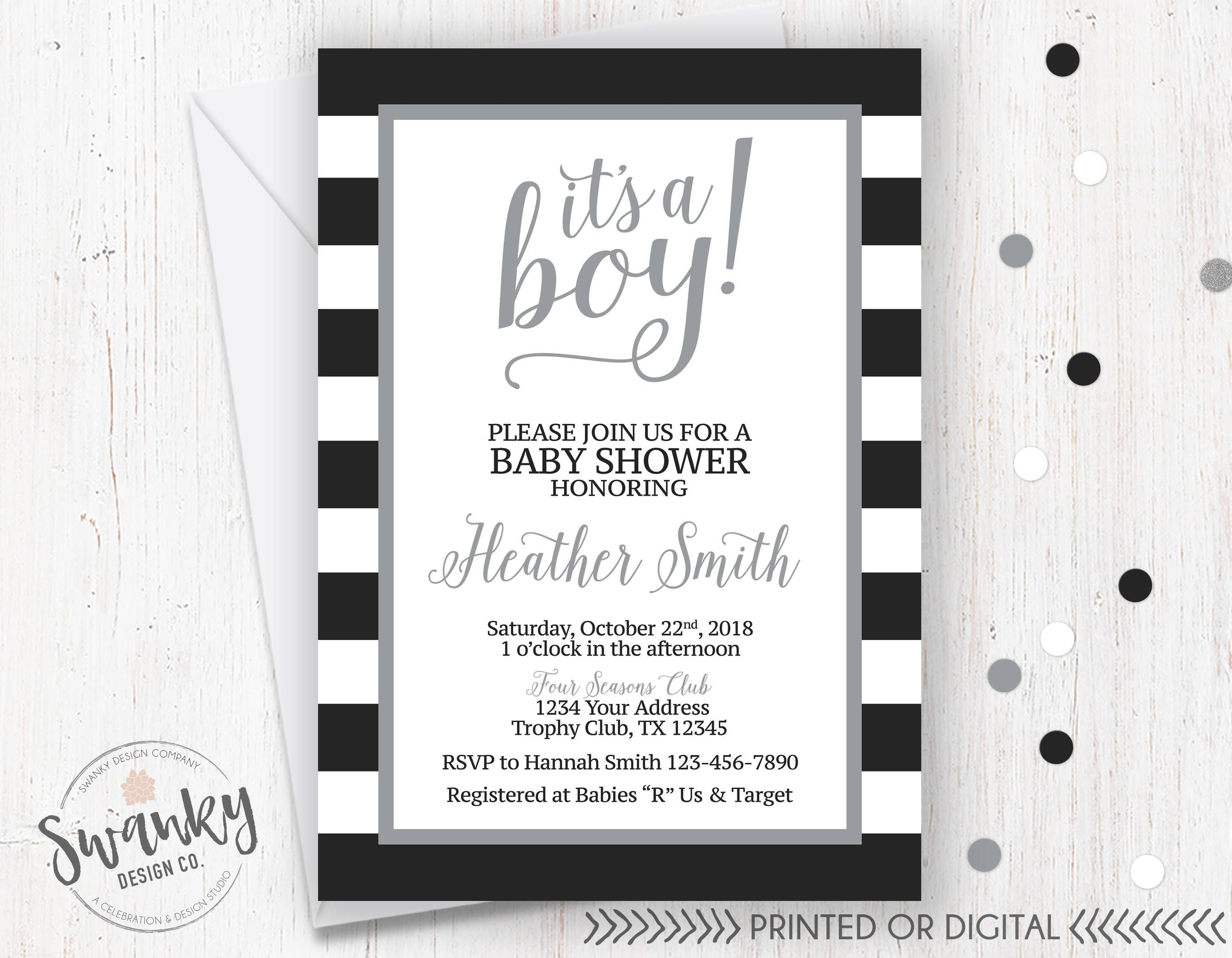 Black and Gray Baby Shower Invitation It\'s A Boy Black | Etsy