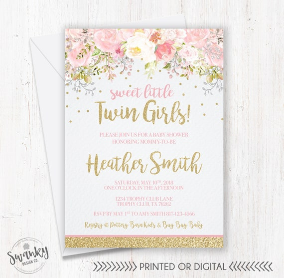Twins Baby Shower Invitations Twin Girl Baby Shower Floral Etsy