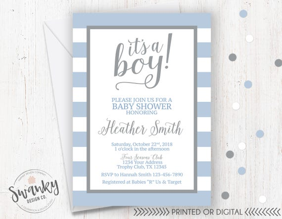 Blue And Gray Baby Shower Invitations Its A Boy Blue Etsy