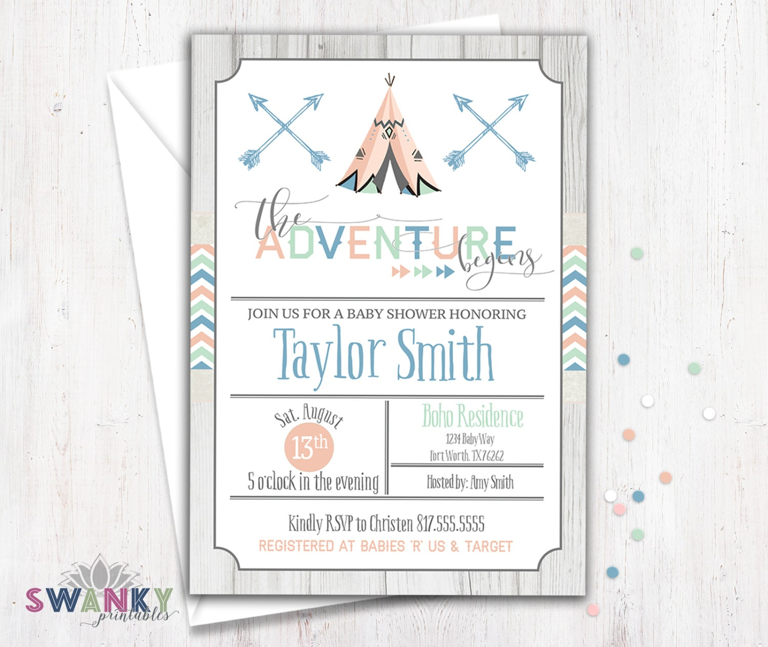 tribal baby shower invitation boho baby shower invitation etsy