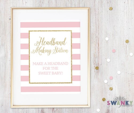Headband Making Station Sign Printable Make A Headband Sign Pink