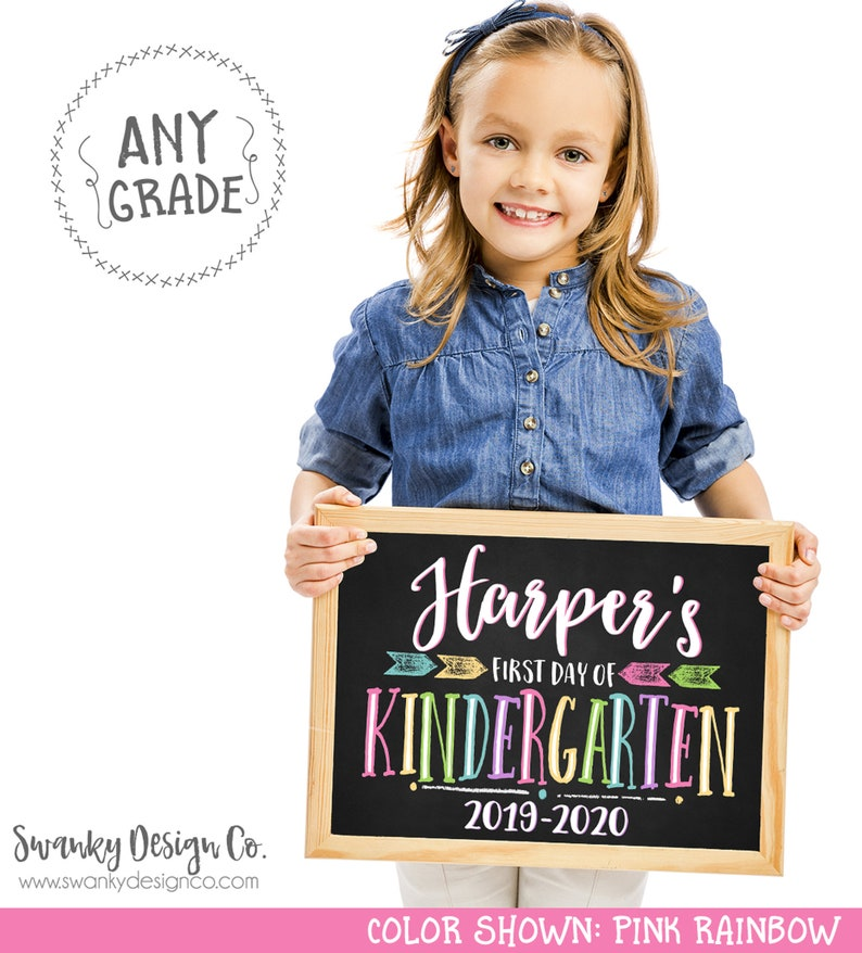 First Day of School Sign Printable Back To School Sign First Pink Rainbow