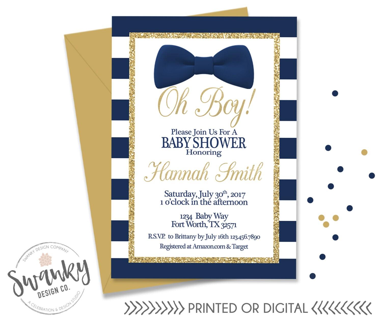 Oh Boy Baby Shower Invitation Bowtie Baby Boy Shower Navy   Etsy