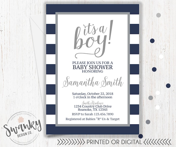 Navy and gray baby shower invitations boy baby shower etsy image 0 filmwisefo