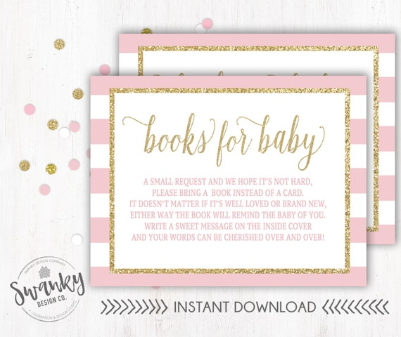 Bring A Book Instead Of Card Pink And Gold Baby Shower Pink Etsy