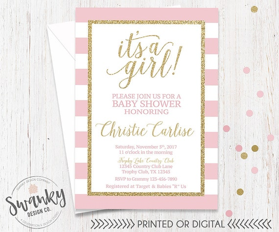 Pink And Gold Baby Shower Invitation Its A Girl Invitation Etsy