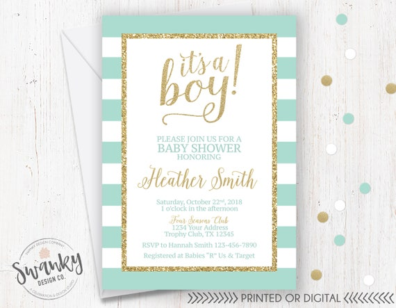Mint And Gold Baby Shower Invitation Glitter
