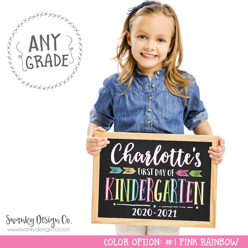 First Day of School Sign Printable Back To School Sign First #1 Pink Rainbow