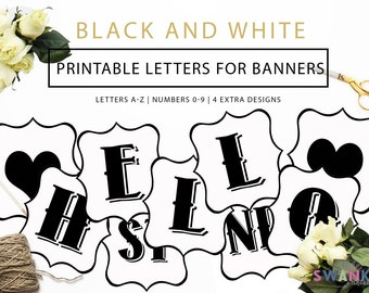Printable Banner Letters, Black and White Letters, Make your own Banner, Letters A-Z, Numbers 0-9, and 4 Extra Designs, Instant Download