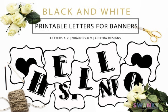 graphic relating to Printable Numbers 0-9 named Printable Banner Letters, Black and White Letters, Crank out your