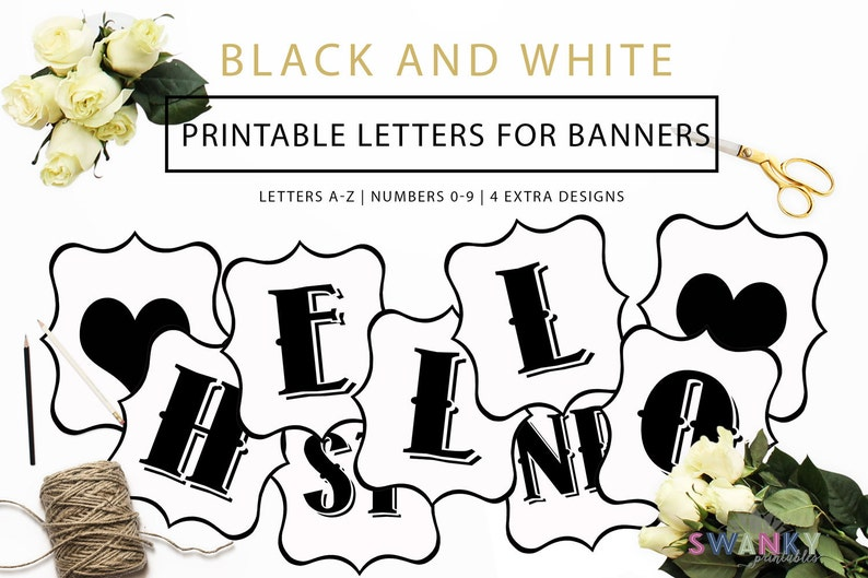 Printable Banner Letters Black and White Letters Make your image 0