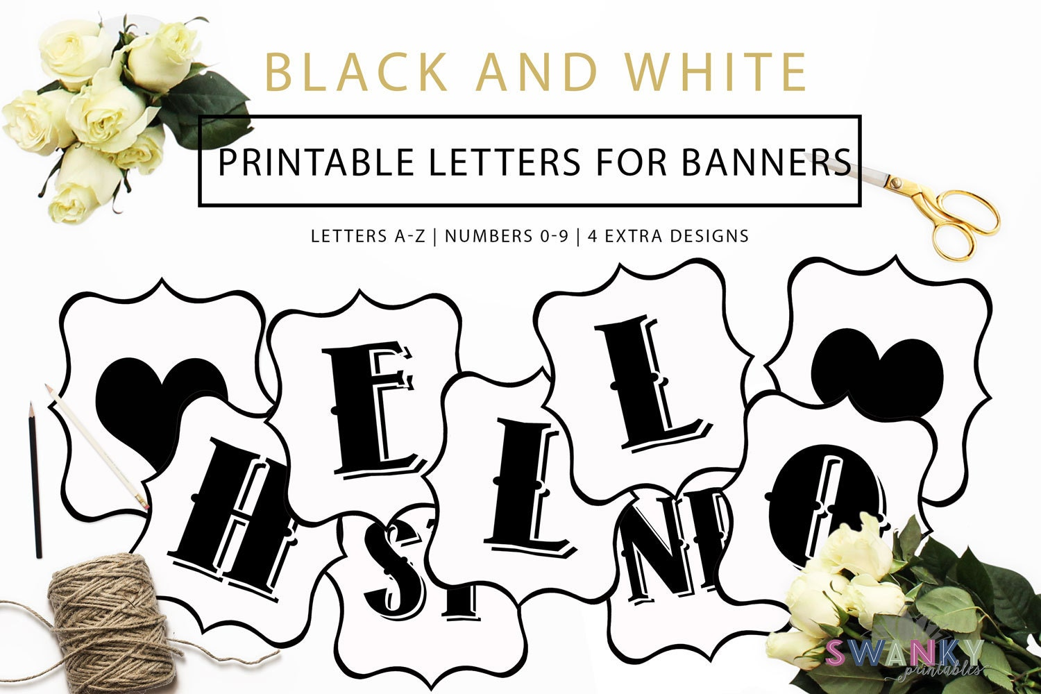 printable banner letters black and white letters make your | etsy