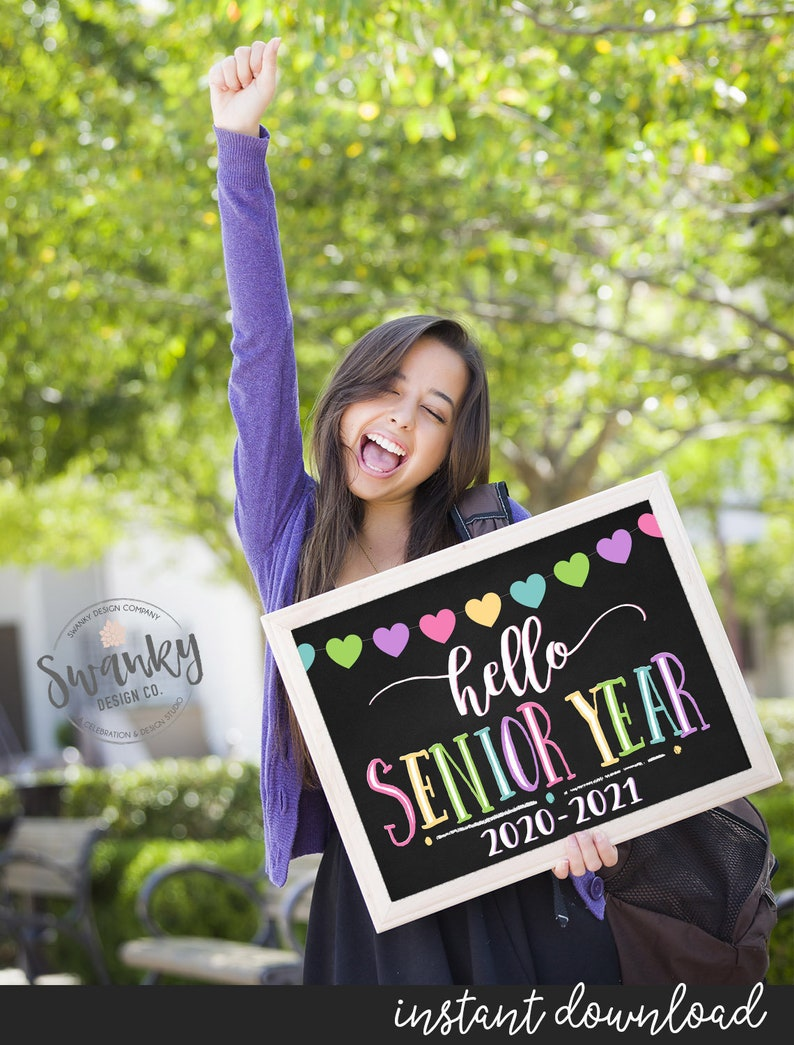 First Day of Senior Year Sign Printable First Day Sign Hello