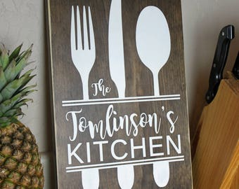 Personalized Kitchen Sign - Personalized Wedding Gifts - Kitchen Decor - Kitchen Wall Decor - Personalized Kitchen Gifts 8x12 - CWS