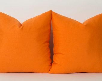 Custom Sizes Decorative Throw Pillow Cover Linen Pillows Solid Orange Mandarin Orange Pillow Cover