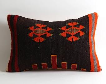kilim pillow cover, 12x18 vintage pillow, turkish pillow, bohemian pillow, eclectic home decor