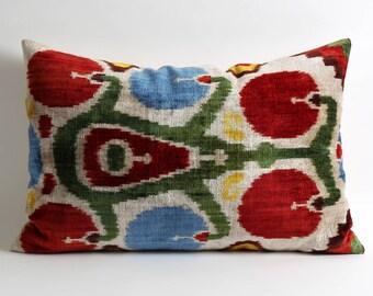 Velvet ikat pillow cover 16x24 Soft velvet handwoven decorative pillow for couch ikat cushion cover Livingroom Decor