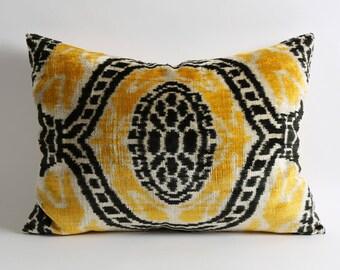 Yellow Black Cream silk velvet ikat cushion cover, 16x22 lumbar yellow ikat pillow, sofa couch pillow, eclectic decor