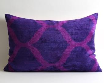 bohemian pillows, silk velvet pillow, ikat cushion, pillowcase, İkat pillow, silk velvet cushion, velvet cushion cover, pillow for sofa