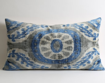 ikat pillow, velvet pillow, ikat, blue, velvet, throw pillow, decorative pillow, pillow cover, ikat pillow cover, blue velvet pillow