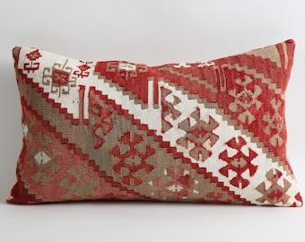 bohemian decor, natural dyes handwoven 12x20 kilim lumbar pillow cover