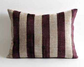 ikat pillow, velvet pillow, velvet pillow cover, pillow, ikat pillows, ikat velvet pillow, purple velvet pillow, purple ikat pillow, ikat