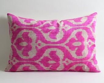pink ikat pillow, throw pillow, pillow cover, ikat pillow, decorative pillow, pillow, pink pillow, accent pillow, ikat pillow cover, ikat