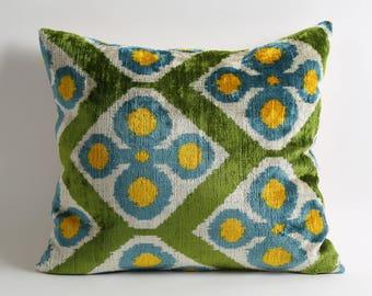 Best quality ikat velvet pillow covers bohemian pillows silk velvet pillow ikat cushion ikat pillow silk velvet blue green white yellow