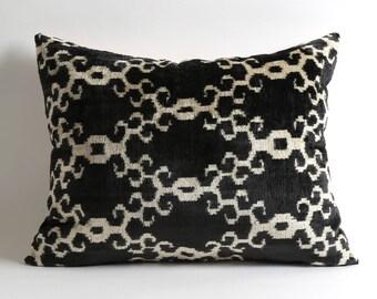 Black and white silk velvet ikat pillow cover 16x20 handwoven hand dyed pillow