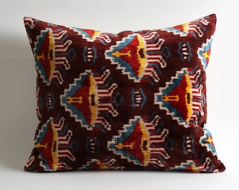 velvet pillow, decorative pillow, throw pillow, ikat pillow, ikat, velvet, pillow cover, decorative pillows, accent pillow, ikat pillows