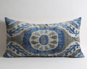 ikat pillow, velvet pillow, ikat, blue, velvet, throw pillow, decorative pillow, pillow cover, ikat pillow cover, blue velvet pillow