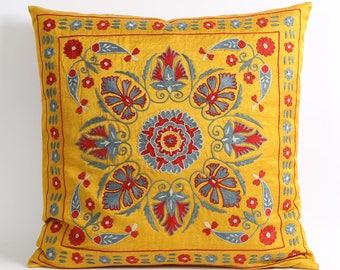 silk, decorative pillow, suzani pillow, throw pillow, embroidered pillow, pillow, square, decorative pillow, pillow cover, suzani pillows