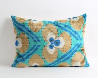 silk velvet ikat pillow cover, eclectic home decor, green brown and blue decorative pillows, ikat pillow
