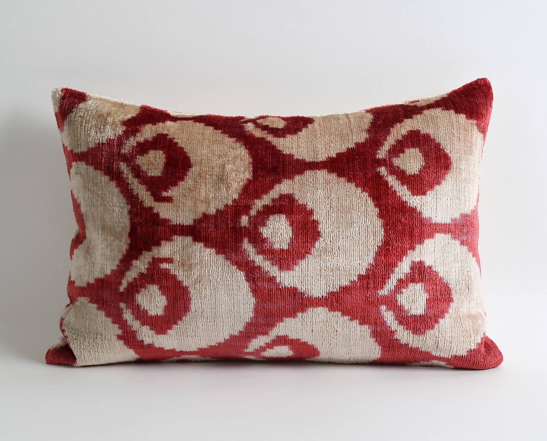 12x18 Inch Luxurious Red Wine Velvet Ikat Pillow Cover