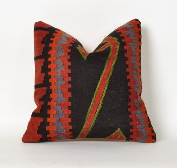 Turkish Kilim Pillow Home Decor Decorative Pillow Home: Turkish Kilim Pillow Tribal Pillow Geometric Home Decor