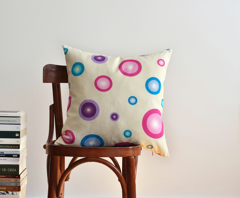 Purple Polka Dot Pillow Cover Beach House Pillow Pink