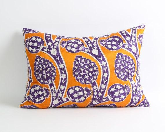 bohemian decorative pillow Silk suzani Luxurious ivory Suzani pillow cover