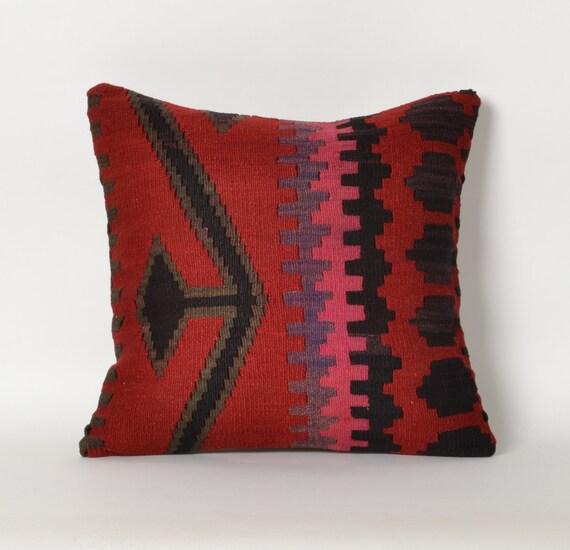 Kilim pillow throw pillow kilim red