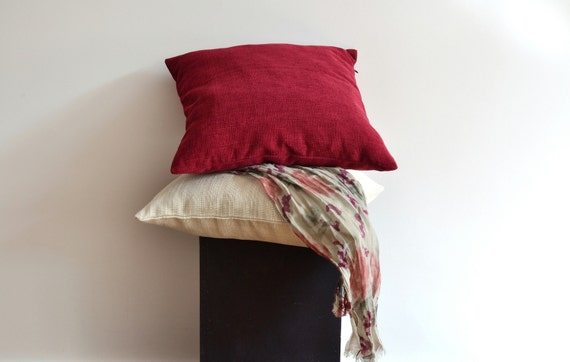 Maroon Minimalist Pillow Cover 40x40 Decorative Pillows Etsy Awesome Maroon Decorative Pillows
