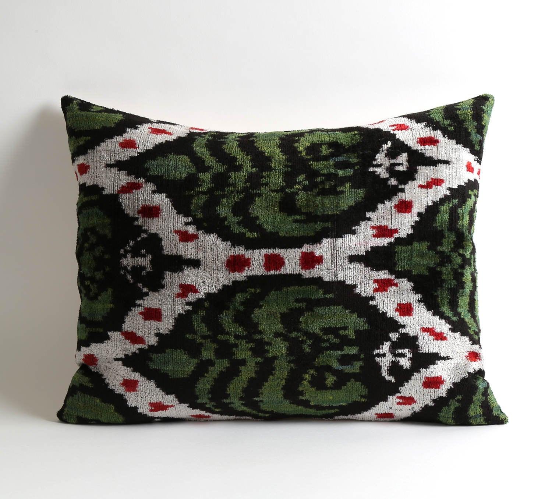 coussin de velours ikat velours vert coussin décoration | etsy