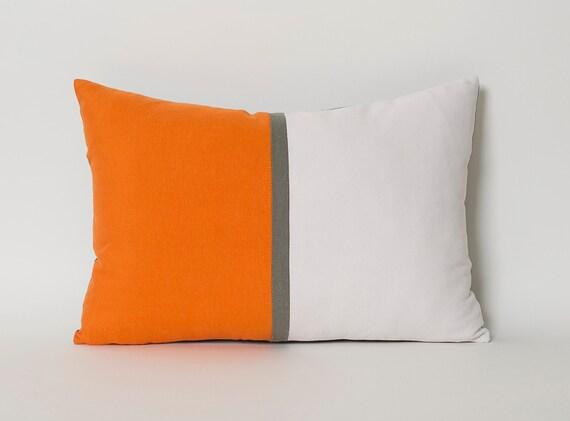 Decorative Throw Pillow Covers Tangerine Orange White Gray Etsy Gorgeous Etsy Decorative Throw Pillows