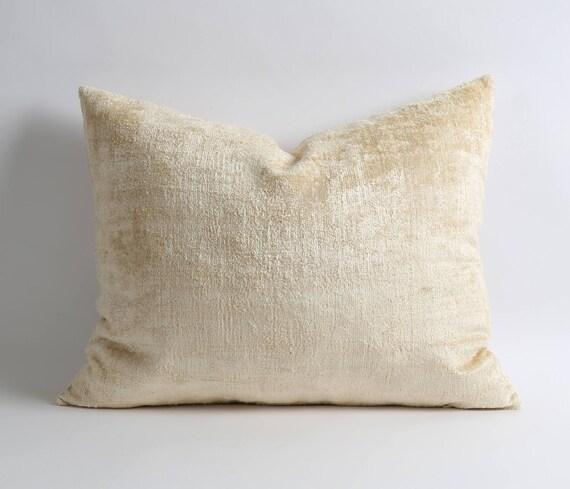 Ivory Velvet Pillow, Handwoven Ikat Velvet Pillow, Throw Cushion, Decorative Pillow by Etsy
