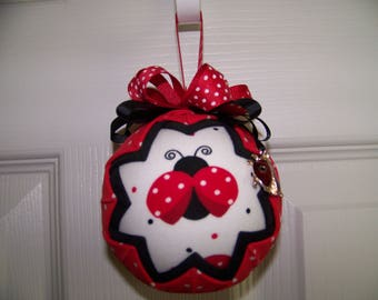 Ladybug Summertime Quilted Ornament