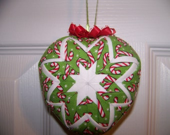 Candy Canes Heart Shape Quilted Ornament