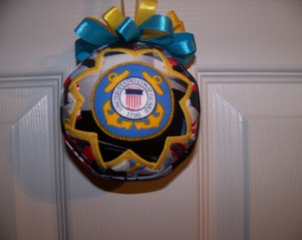 U.S.Coast Guard Quilted Ornament/Patriotic/US Coast Guard Emblem/Military Quilted Ornament