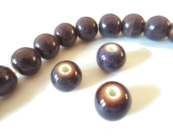 1 x Pearl handcrafted 10mm purple ANTIQUE porcelain