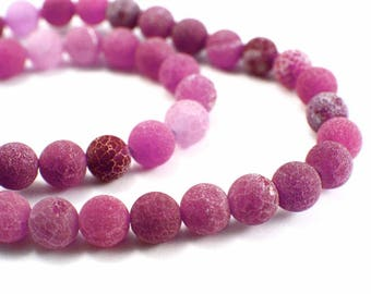 Cracked Agate beads 10 x 4mm Frosted pink